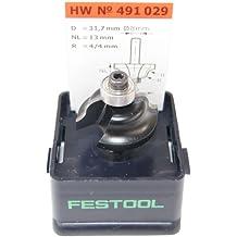 Festool 491029 - Fresa para radios dobles HW, vástago 8 mm HW S8 D31,7/R4/R4