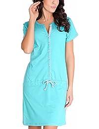 Dn-Nightwear TM.5041 Camisón Maternal De Manga Corta Con Cómodo Cierre - Hecho En La UE