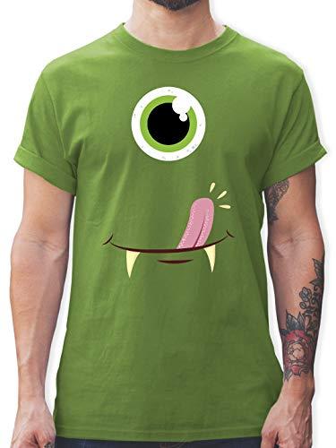 Karneval & Fasching - Monster Gesicht Kostüm - XL - Hellgrün - L190 - Herren T-Shirt und Männer Tshirt (Augen Gesicht Kostüm)
