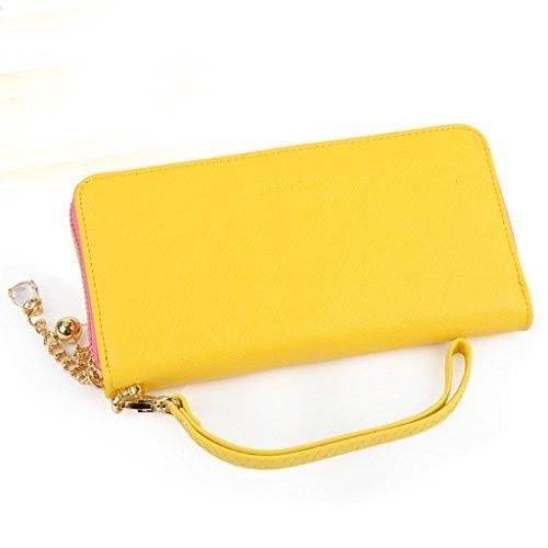 Purse sezione femminile della cerniera borsa a mano portafoglio semplice croce - portafoglio donne delle cartelle denaro 's modello ( colore : Il blu scuro. ) Giallo