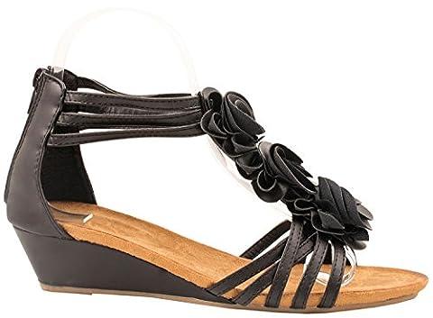 Elara Damen Sandaletten | Bequeme Keilsandalette | Cut-Outs Deko Blümchen Farbe Schwarz, Größe