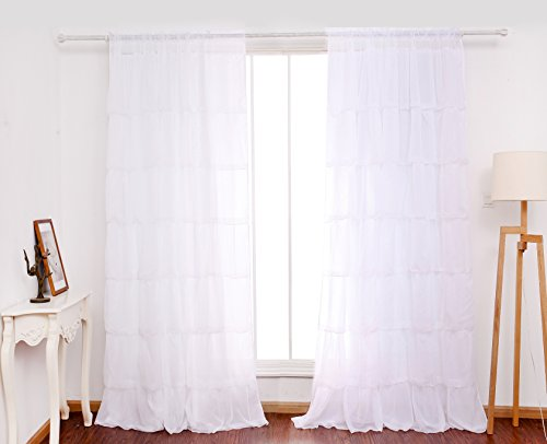 ß Volant Gardine Transparent Voile Vorhang Schal mit Ösen TOP QUALITÄT für Wohnzimmer Schlafzimmer 213x107cm (Tür Curtian)