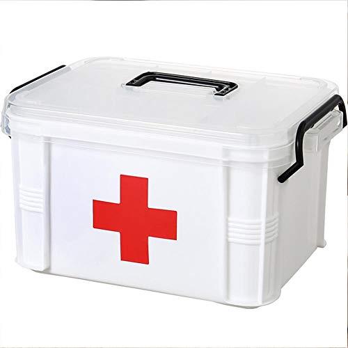Erste Hilfe Kit Box abschließbar Medizin Aufbewahrungsbox Familie Notfall Kit Schrank Veranstalter mit abnehmbaren Fach & Griff tragbar für Zuhause Camping Reisen Wandern - Bandage Box Kit