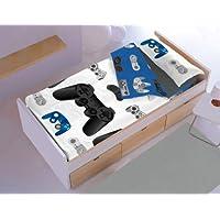 New Cotton Saco nórdico CON relleno JOYSTICK para cama 90 x 190/200 + 1 funda de almohada. Saco unido a la bajera con cremallera. Con relleno nórdico.