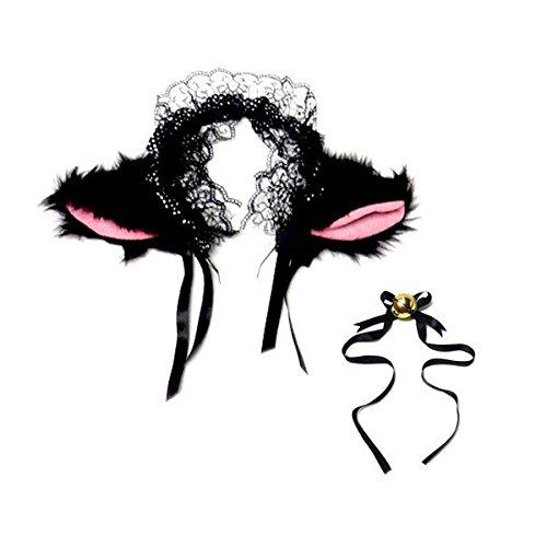 Katze Kostüm Weiße Niedliche - ROSENICE Niedlich Katzenohren Stirnbänder Cosplay Headwear mit kleinen Bell(schwarz)