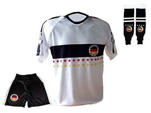 Deutschland Trikot Stars Hose Stutzen mit Wunschname Nummer Kinder Größe 140 (Deutschland Jugend T-shirt)
