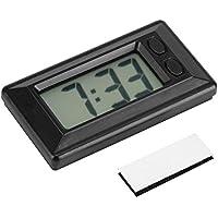 Mini reloj digital LCD para cuadro de moto, coche o escritorio, reloj electrónico con visualización de fecha, 24 horas y calendario, con adhesivo mágico 7,7x 4,2cm