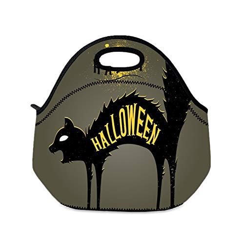 Lunchtasche für Kinder, Halloween, Katze, dunkle Mädchen, tragbare Lunch-Tasche, günstige Taschen für Frauen und Erwachsene