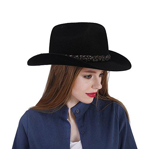 JiuRui Gorras Sombreros Sombrero de vaquero 100% fieltro de lana ... d73cb577d15
