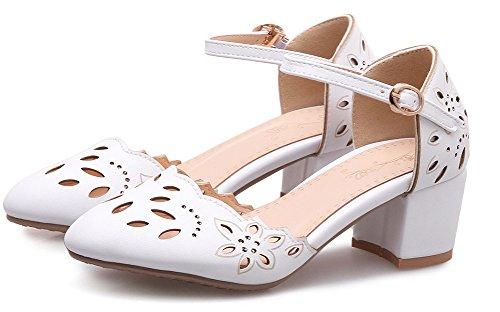 Escarpins Femme Blanc Perforé Bride Aisun Fleur Chic Cheville pqwv7