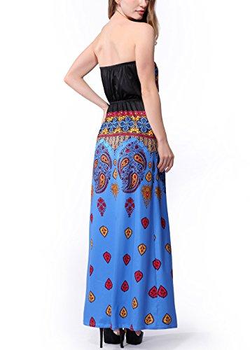 Frauen-Weinlese-Boho-Blumendruck-trägerloser Strand-Maxi-Kleid C0050-Blau