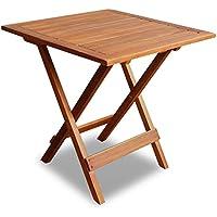 vidaXL Mesa cuadrada hecha de madera de acacia jardín exteriores patio para café