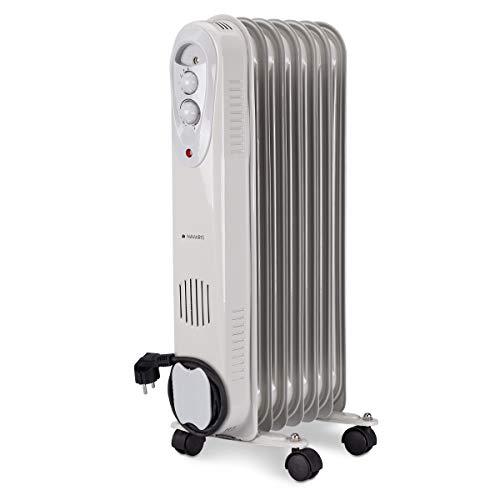 Navaris Radiador de Aceite eléctrico- Calefactor con 3 Niveles de Potencia hasta 1500W - Estufa portátil...