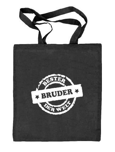 Shirtstreet24, Bester Bruder der Welt Stempel, Stoffbeutel Jute Tasche (ONE SIZE) schwarz natur
