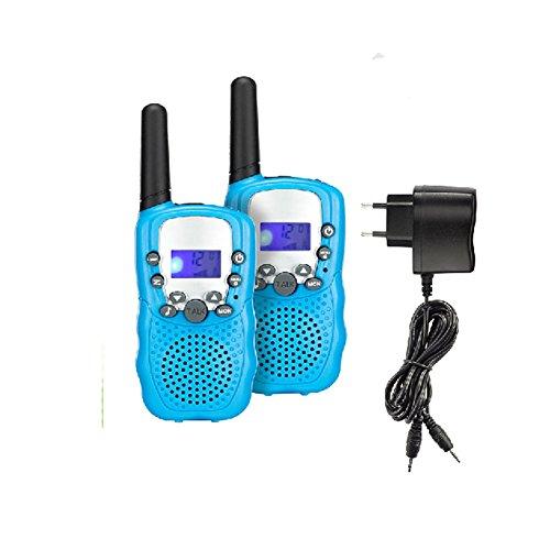 Generisch T388 0.5W Wiederaufladbar Kinder Walkie Talkie 8 Kanäle PMR 446 LC-Display(Himmelblau)