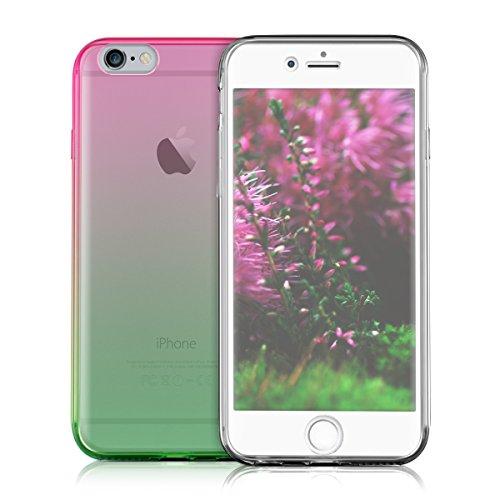kwmobile Hülle für Apple iPhone 6 / 6S - Full Body TPU Silikon Crystal Case Transparent - Komplett Schutzhülle Cover in Transparent Zwei Farben Pink Grün Transparent