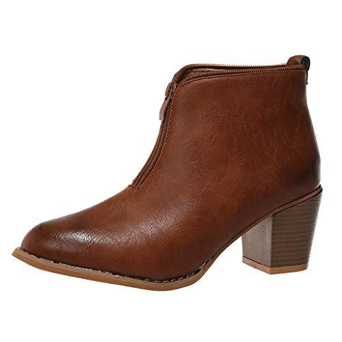 Damen Stiefeletten Herbst Und Winter Klassische Stiefel Chelsea Boots mit Blockabsatz Lässige Vintage Römischen Groß Dicke quadratische Stiefel Elegante Ankle Boot