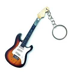 Idea Regalo - Portachiavi in Legno Forma Chitarra - Jimi Hendrix - Stratocaster sunburst