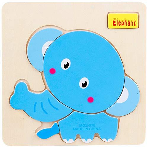 Bunte pädagogische Laubsägen-Karikatur-Tier verwirrt hölzernes Kinderpuzzlespiel-Intelligenz-Spielzeug