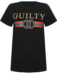 WearAll Women's Plus Guilty Text Slogan Glitter Print Short Sleeve T-Shirt Ladies Top 16-24