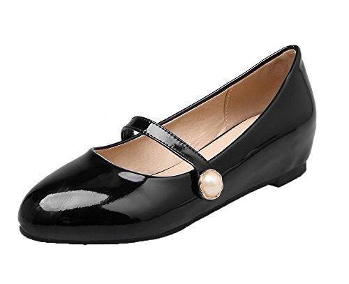 VogueZone009 Femme Couleur Unie Verni à Talon Bas Rond Tire Chaussures Légeres Noir