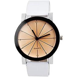Winwintom 2016 Reloj de pulsera para hombre, sistema de cuarzo, correa de piel, esfera redonda, color negro
