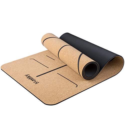 Homtiky Yogamatte Gymnastikmatte aus Naturkautschuk und Kork, Schadstofffreie Sportmatte Korkmatte mit Tragegurt, rutschfeste Fitnessmatte für Gymnastik (183 x 65 x 0,7 cm)