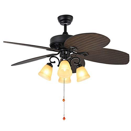 Deckenventilator Licht kreative American Pastoral tropischen Deckenventilator Flügel Dekoration Stumm Rotation einstellbar Haushaltsventilator Licht -