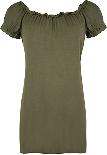 WearAll - Damen Übergröße Gypsy u-boot-ausschnitt boho Top - Khaki - 50-52