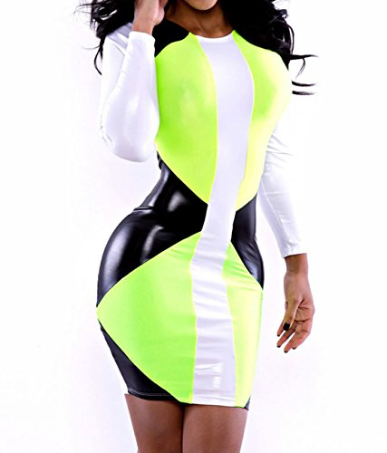 Dissa® vert imitation cuir Speedway Bodycon robe,Multicolore,Taille unique Multicolore