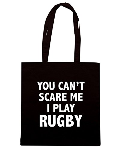 T-Shirtshock - Borsa Shopping TRUG0152 you cant scare mei play rugby logo Nero