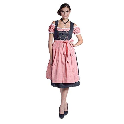 donnerlittchen! MINI oder MIDI Dirndl inkl. Bluse und Schürze Leoni - rot/weiß, Größe:34;Länge:Mini-Dirndl (Knielänge)