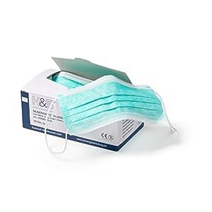 Mundschutz (OP Vlies-Mundschutz) 50 Stück-Packung von ISC H&S mit Elastikband in Komfortlänge, 3-lagig, 100% PP, mit Nasenbügel, glasfaserfrei, latexfrei, grün, weiß, rot, gelb oder blau
