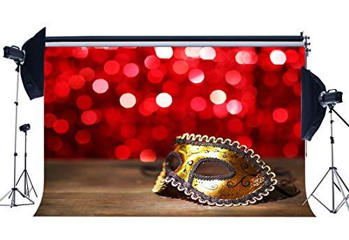 EdCott Vinyl 5X3FT Karneval Party Hintergrund Abschlussfeier Feier Kulissen Goldene Maske Ball Rot Bokeh Pailletten Fotografie Hintergrund für Sexy Mädchen Jungen Maskerade Fotostudio Requisiten