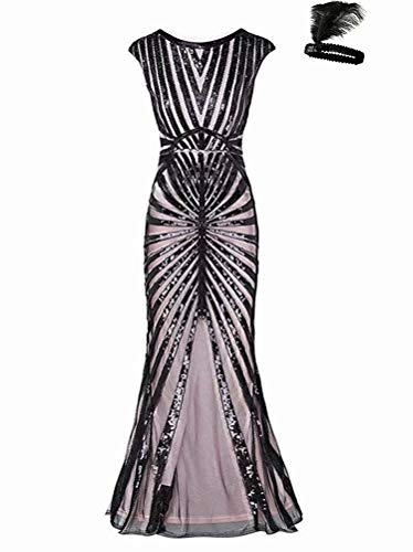 General 1920s Kleid Damen Maxi Lang Vintage Abendkleid Gatsby Motto Party 20er Jahre Flapper Kleid Damen Kostüm Kleid (Black/pink, M)