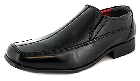 New Mens/Gents Black Leather Slip On Formal Shoes Wider Fitting. - Black/Red Lining - UK SIZE 10