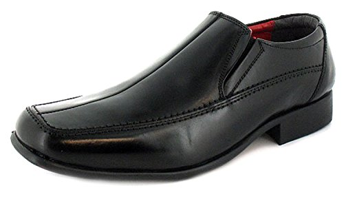 New Mens/Gents Black Leather Slip On Formal Shoes Wider Fitting. - Black/Red...