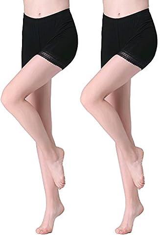 Vinconie Femme Noir Court Leggings Dentelle Modal-Spandex Mince Slim Fit Yoga Gym Shorts 2 Pack