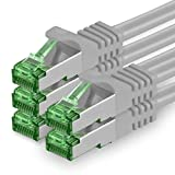 1aTTack.de 624501 Cat.7 Netzwerkkabel 5m Grau - 5 Stück - Cat7 Ethernetkabel PoE+ LAN Kabel Rohkabel 10 Gb/s (S-FTP PIMF) Set Patchkabel mit Rj 45 Stecker Cat.6a 5 x 5 Meter Grau