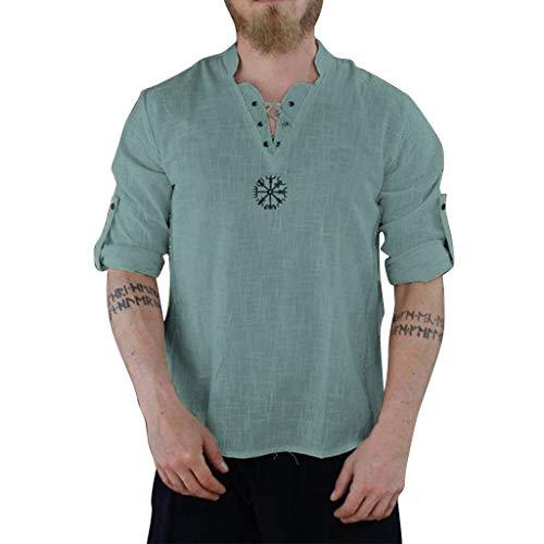BHYDRY Herren Sommer Modische Persönlichkeit Baumwolle-Leinen Pure Long Sleeve Top - Kimono Krawatte Wrap Top