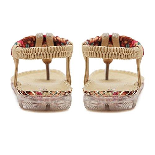 New Bohemia stile romano da donna con perle, stile Folk, fantasia astratta Estate spiaggia Dunlop-Pantofole Sandali infradito forma piatta, antiscivolo apricot