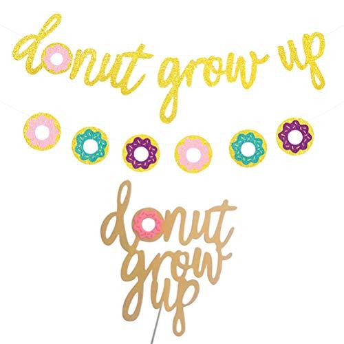 BESTOYARD Golden Glitter Donut aufwachsen Banner mit Cake Topper Geburtstag Party Dekorationen Geburtstag Supplies Set