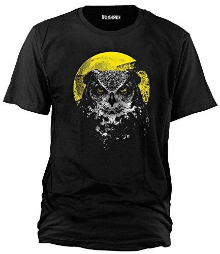 Wolkenbruch T-Shirt Eule Darkside Mond Gr.M-XXXXXL, Schwarz, XXL
