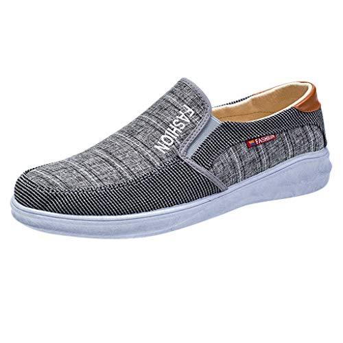BHYDRY Uomo Outdoor Mesh Scarpe Canvas Casual Slip-on Scarpe Lazy Scarpe Traspirante Sneakers(44 EU,Grigio)