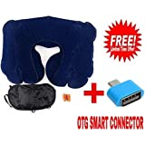 GEWWNW@RLD 3 In 1 Inflatable Neck Air Cushion Pillow, Eye Mask & 2 Ear Plugs (Color May Vary) WITH FREE OTG SMART...