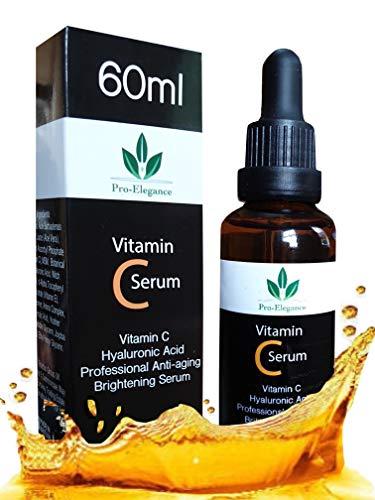 Vitamin C Serum für das Gesicht - Riesig 60ml Flasche - Beste Natürliche Formel mit Klinische Stärke von reines Vitamin C, Hyaluronsäure, Vitamin E & Bio-Jojobaöl - Für Alle Hauttypen -