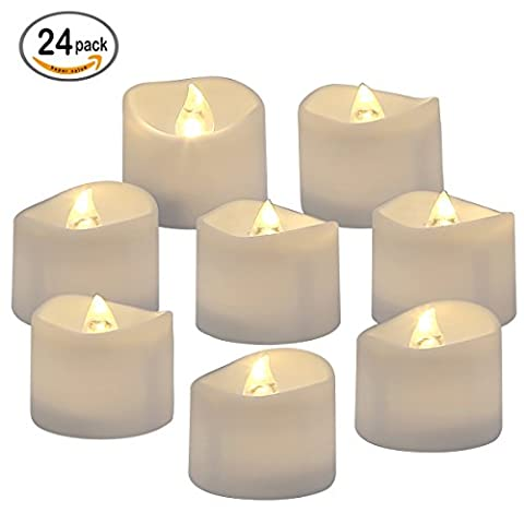 Homemory Lot de 24 Lumières Bougies à LED, Sans Flamme, Réaliste et Bright, Puissance de la Batterie, Fausses Bougies électriques pour Votive, Table Party Anniversaire Mariage(blanc chaud) …