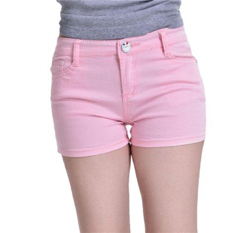 Zll OE Short court pour femme en jeans Skinny Rose - Rose