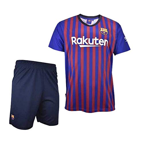 Conjunto Camiseta y Pantalon 1ª Equipación 2018-2019 FC. Barcelona - Réplica Oficial Licenciado - Dorsal Liso - NiñoTalla 6 años - Medidas Pecho 34.5 - Largo Total 49 - Largo Manga 15 cm.