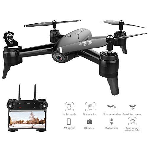 Traioy RC Drone Flusso Ottico 1080P HD Dual Camera WiFi Real Time Aerial Video RC Quadcopter Posizionamento Aereo, Adatto per Principianti,1080Pblack